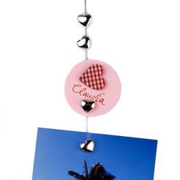 Filo portafoto 'Sweetheart' 1.5 m con asola e peso in acciaio, incl. 8 cuori magnetici