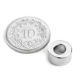 R-10-05-05-DN Ringmagneet Ø 10/5 mm, hoogte 5 mm, neodymium, N45, vernikkeld, diametral gemagnetiseerd