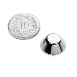 CN-15-08-06-N Cono magnético Ø 15/8 mm, alto 6 mm, neodimio, N42, niquelado