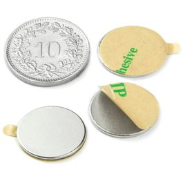 S-15-01-STIC Disco magnético adhesivo Ø 15 mm, alto 1 mm, neodimio, N35, niquelado