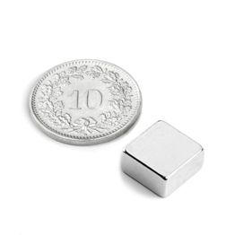 Q-10-10-05-N Block magnet 10 x 10 x 5 mm, neodymium, N42, nickel-plated