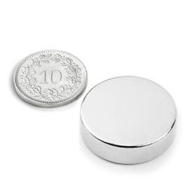 S-25-07-N Disco magnético Ø 25 mm, alto 7 mm, sujeta aprox. 11 kg, neodimio, N42, niquelado