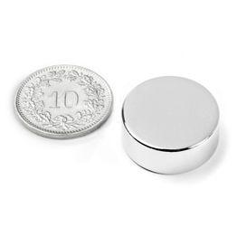 S-20-08-N Disque magnétique Ø 20 mm, hauteur 8 mm, néodyme, N42, nickelé