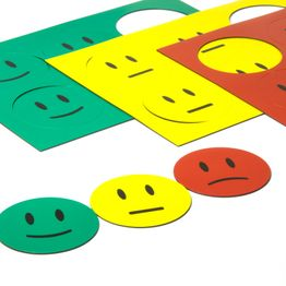 Emoticonos magnéticos para pizarras blancas y de planificación, 6 emoticonos por hoja A5, set de 3 piezas: verde, amarillo, rojo