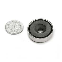 CSF-25 Ferrite pot magnet, with counterbore, Ø 25 mm