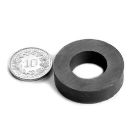 FE-R-30-16-08 Ringmagneet Ø 30/16 mm, hoogte 8 mm, ferriet, Y35, zonder coating