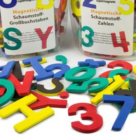 Cijfers of letters magnetisch set met magnetische tekens, van EVA-schuim, 4 kleuren gemengd