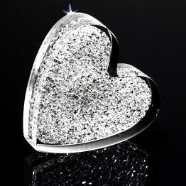 "Koelkastmagneet ""Glinsterend hart"" van plexiglas, met Swarovski-kristallen"