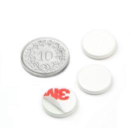 PAS-13-W Disque métallique autocollant blanc Ø 13 mm, contre-pièce pour aimants, non magnétique !