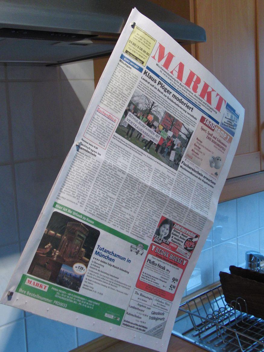 Die Zeitung wartet auf den nächsten Leser.