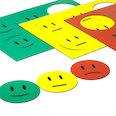 Pour tableaux blancs & tableaux de planning, 6 smileys par feuille A5, kit en 3 pièces : vert, jaune, rouge