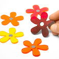 Blumenmagnete in Sommerfarben, 5er Set