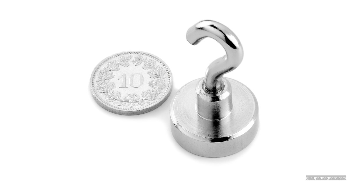 topfmagnete haltemagnete mit haken d 20 mm neodym magnete. Black Bedroom Furniture Sets. Home Design Ideas