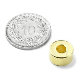 R-10-04-05-G, Ringmagneet Ø 10/4 mm, hoogte 5 mm, neodymium, N42, verguld