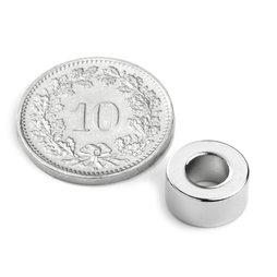 R-10-05-05-DN, Ringmagnet Ø 10/5 mm, Höhe 5 mm, Neodym, N45, vernickelt, diametral magnetisiert