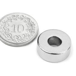 R-15-06-06-N, Anneau magnétique Ø 15/6 mm, hauteur 6 mm, néodyme, N42, nickelé