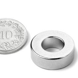 R-19-09-06-N, Anneau magnétique Ø 19.1/9.5 mm, hauteur 6.4 mm, néodyme, N42, nickelé