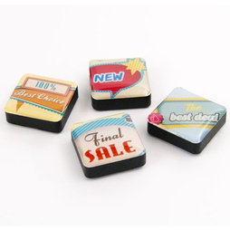 SALE-053/signs, Icons retail, fridge magnets square, set of 4, in various designs