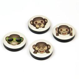 LIV-82/monkeys, Emoji, Dekomagnete mit Symbolen, 4er-Set, 'Affen'