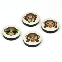 LIV-82/monkeys, Emoji, magneti decorativi con simboli, set da 4, 'scimmie'