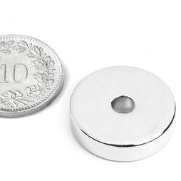R-20-04-05-N, Ringmagnet Ø 20/4.2 mm, Höhe 5 mm, Neodym, N45, vernickelt