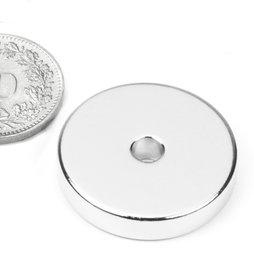 R-25-04-05-N, Ringmagneet Ø 25/4.2 mm, hoogte 5 mm, neodymium, N45, vernikkeld