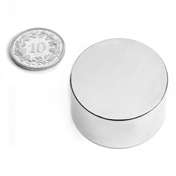 S-35-20-N, Disc magnet Ø 35 mm, height 20 mm, neodymium, N45, nickel-plated