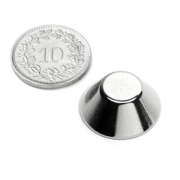 CN-20-10-08-N, Konische magneet Ø 20/10 mm, hoogte 8 mm, neodymium, N38, vernikkeld