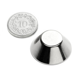 CN-25-13-10-N, Cône tronqué magnétique Ø 25/13 mm, hauteur 10 mm, néodyme, N38, nickelé