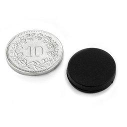 S-15-03-R, Disc magnet Ø 16.8 mm, Height 4.4 mm, neodymium, N45, rubberised
