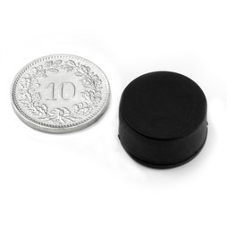 S-15-08-R, Schijfmagneet met rubber coating Ø 16.8 mm, dikte 9.4 mm, neodymium, N42