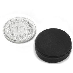 S-20-05-R, Schijfmagneet met rubber coating Ø 22 mm, dikte 6.4 mm, neodymium, N42