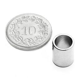 R-09-07-11-N, Anneau magnétique Ø 9/7 mm, hauteur 11 mm, néodyme, N50, nickelé
