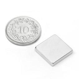 Q-15-15-03-N, Quadermagnet 15 x 15 x 3 mm, Neodym, N45, vernickelt