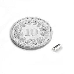 S-02-04-N, Staafmagneet Ø 2 mm, hoogte 4 mm, neodymium, N45, vernikkeld