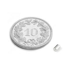 S-02-03-N, Stabmagnet Ø 2 mm, Höhe 3 mm, Neodym, N45, vernickelt