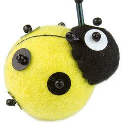LIV-83/yellow, Lieveheersbeestjes, vilten koelkastmagneet, met glazen kraaltjes, geel