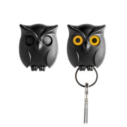M-65, Key holder magnetic Owl, black, with backside magnet, and extra ring