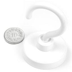 FTNW-40, Crochet magnétique blanc Ø 40.3 mm, revêtement poudre, pas de vis M6