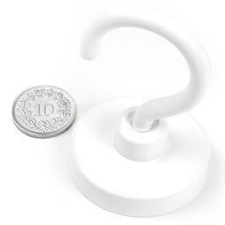 FTNW-40, Hook magnet white, Ø 40.3 mm, powder-coated, thread M6