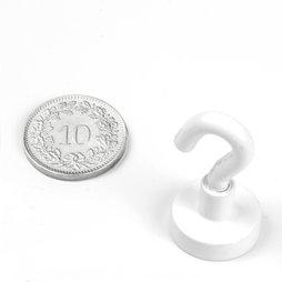 FTNW-16, Crochet magnétique blanc, Ø 16.3 mm, revêtement poudre, pas de vis M4