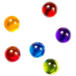 LIV-14, Knikkers, gekleurde decoratieve plexiglas magneten, set van 6