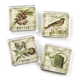SALE-092, Garden, fridge magnets with garden motives, set of 4