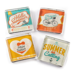 SALE-094, Summer, fridge magnets with summer motives, set of 4