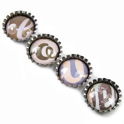 SALE-096, Bottle cap magnets 'Love', fridge magnets, set of 4