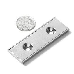 CSR-60-20-04-N, Flachleisten-Magnet 60 x 20 x 4 mm, mit Senkbohrung, in U-förmigem Stahlprofil