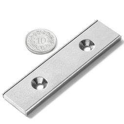 CSR-80-20-04-N, Platte magneet 80 x 20 x 4 mm, met verzonken gat, in stalen u-profiel
