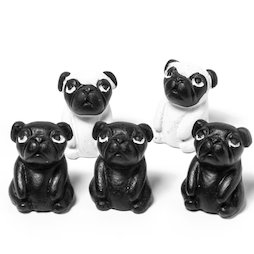 LIV-103, Pugs, fridge magnets in the shape of dogs, set of 5