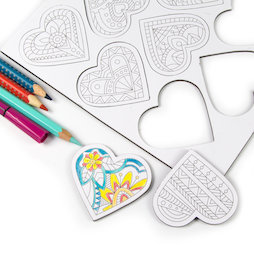 LIV-109, Mandala hearts, colour-me fridge magnets, heart-shaped, set of 9