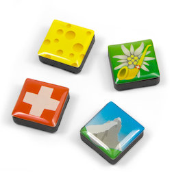SALE-053/swiss, Icons Switzerland, fridge magnets square, set of 4, in various designs